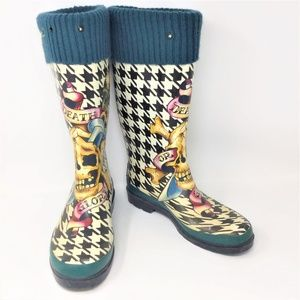 Ed Hardy Boots Houndstooth Rubber Rain 9